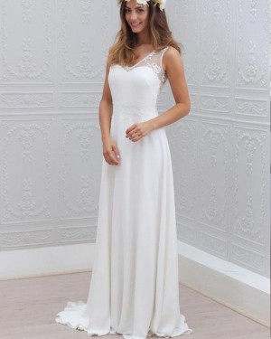 White Sheath V-neck Lace Bodice Wedding Dress WD2167