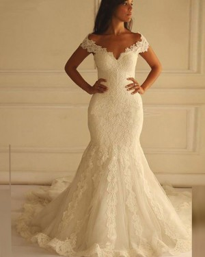 Off the Shoulder Vintage Lace Ivory Mermaid Wedding Dress WD2170