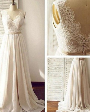Pleated Chiffon V-neck Lace Bodice Wedding Dress WD2171