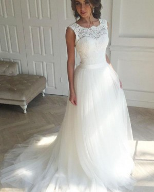 Elegant Lace Bodice White Scoop Tulle Wedding Dress WD2172