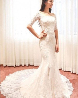 Ivory Mermaid Scoop Lace Wedding Dress with Half Length Sleeves WD2175