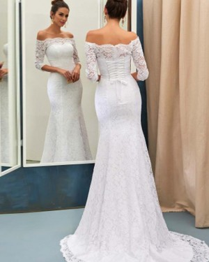 White Long Sleeve Off the Shoulder Lace Mermaid Wedding Dress with Lace Up WD2176