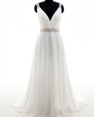 Simple Ruched Ivory V-neck Tulle Wedding Dress with Beading Belt WD2177