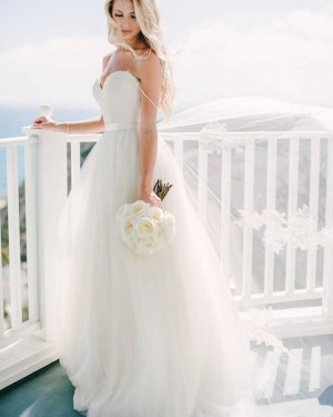 Simple Ivory Pleated Sweetheart Tulle Wedding Dress WD2178