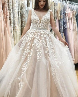 Appliqued Ivory V-neck Lace Wedding Dress with Beading Belt WD2180