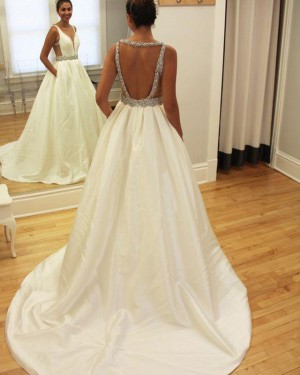 Simple Satin Beading Deep V-neck Wedding Gown with Pockets WD2186