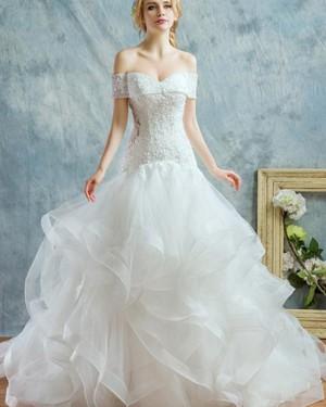 White Beading Ruffle Off the Shoulder Mermaid Wedding Dress WD2187