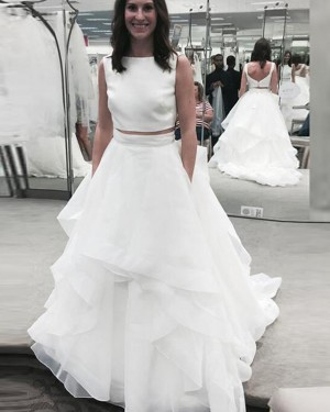 Simple Two Piece Ruffle Jewel White Wedding Dress WD2192