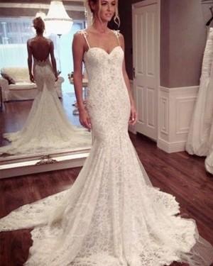 Ivory Lace Mermaid Spaghetti Straps Wedding Dress WD2193