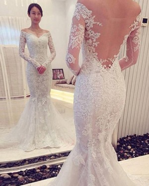 Lace White Off the Shoulder Wedding Dress with Long Sleeves WD2194