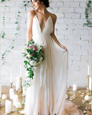 Simple Pleated Chiffon Spaghetti Straps Beach Wedding Dress WD2195