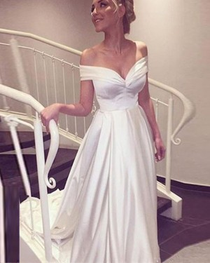 Ivory Satin Simple Off the Shoulder Wedding Dress WD2196