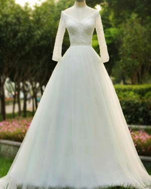 Beading Bodice A-line Off the Shoulder Wedding Dress with 3/4 Length Sleeves WD2197