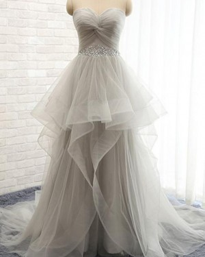 Ruffle Beading Grey Sweetheart Tulle Wedding Dress WD2198