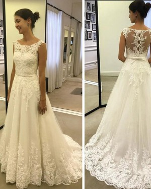 Applique Pleated Scoop Lace White A-line Wedding Dress WD2199
