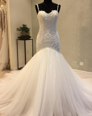Elegant Pleated Mermaid Square Beading Wedding Dress WD2200