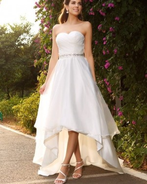 Sweetheart Ruched High Low White Wedding Dress with Beading WD2202