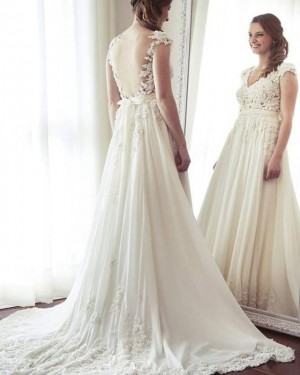 V-neck Lace Applique A-line Wedding Dress with Cap Sleeves WD2205