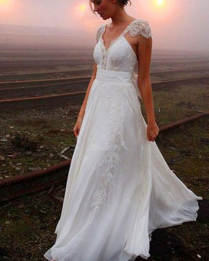 Lace Applique V-neck Sheath Wedding Dress with Cap Sleeves WD2206