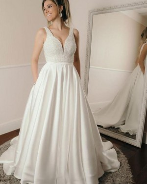 Deep V-neck Pleated Satin Beading Bodice Fall Wedding Dress with Pockets WD2207