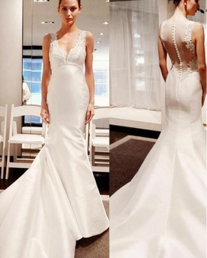Simple Applique Satin Ivory V-neck Mermaid Wedding Dress WD2210