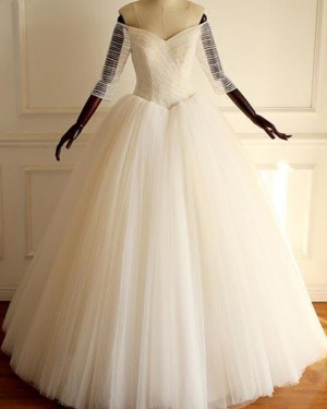 Ruch Tulle Pleated Off the Shoulder Ball Gown Wedding Dress with 3/4 Length Sleeves WD2211