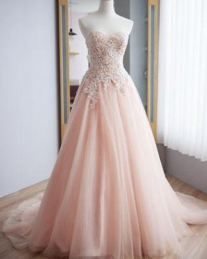 Applique Tulle Sweetheart Pink Lace A-line Wedding Dress WD2214