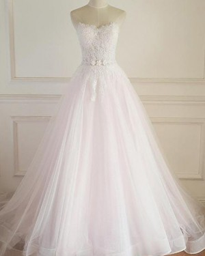 Lace Applique Bodice Sweetheart White Tulle A-line Wedding Dress WD2216