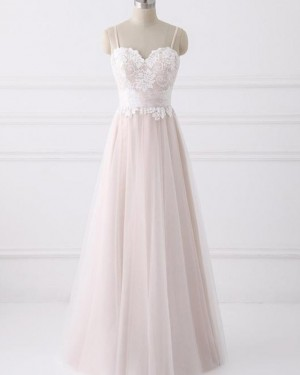 Dusty Pink Tulle Spaghetti Lace Appliqued A-line Wedding Dress WD2219