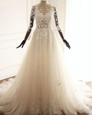 Tulle A-line High Neck Lace Applique Wedding Dress with Long Sleeves WD2223