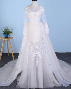 Tulle Mermaid Long Sleeve Bateau Lace Applique Wedding Dress with Detachable Skirt WD2227