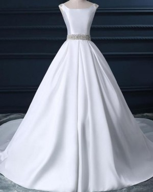 Simple White Satin Fall Scoop Wedding Dress with Beading Belt WD2231