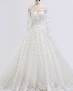 V-neck Ivory A-line Lace Applique Wedding Dress with Long Sleeves WD2232
