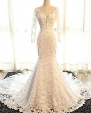 Lace Mermaid Scoop Vintage Wedding Dress with Long Sleeves WD2233