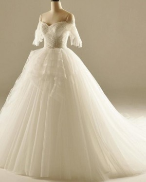 Ruched White Off the Shoulder Ball Gown Wedding Dress WD2236
