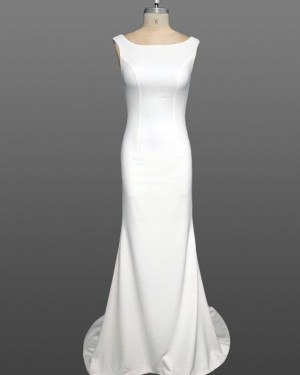 Simple White Mermaid Scoop Satin Wedding Dress WD2237