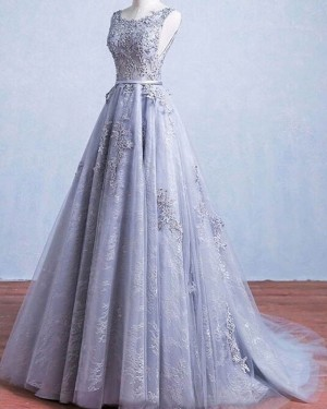 Appliqued Lace Light Blue Scoop Neck Pleated Wedding Dress WD2239