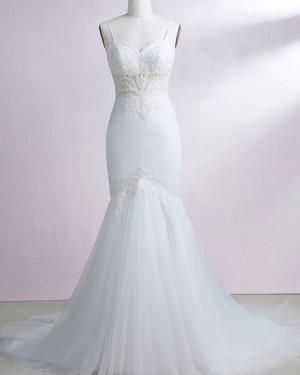 Lace Appliqued Spaghetti Straps White Mermaid Wedding Dress WD2241