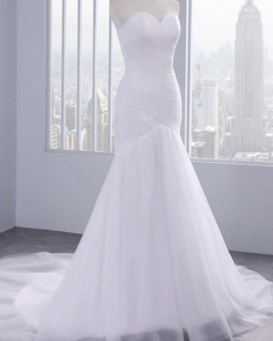 Ruched Mermaid Tulle Sweetheart White Wedding Dress WD2244
