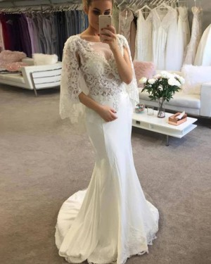 Lace Bodice Scoop Ivory Mermaid Wedding Dress with Half Length Sleeves WD2246