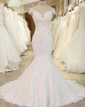 Lace Applique Off the Shoulder White Beading Mermaid Wedding Dress WD2248