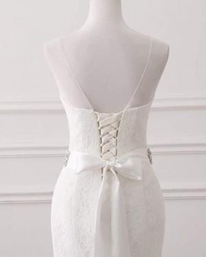 Vintage Lace Deep V-neck Mermaid Wedding Dress with Belts WD2251