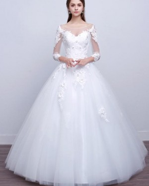 Bateau Lace Applique White A-line Tulle Wedding Dress with Long Sleeves WD2253