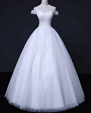 White Sequin Off the Shoulder Beading Wedding Gown WD2257