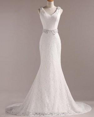 Vintage Lace V-neck Mermaid Wedding Dress with Beading Belt WD2258