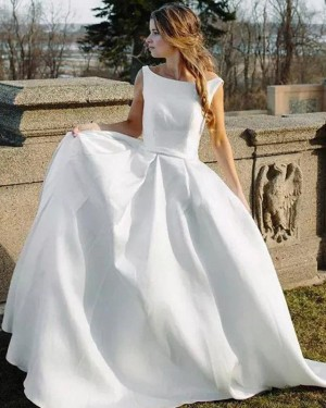 Simple Bateau White Satin A-line Wedding Dress WD2262