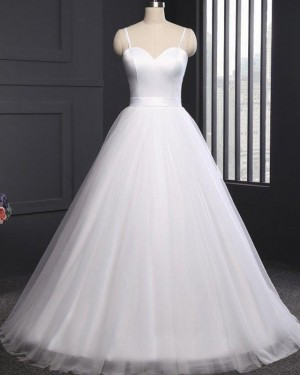 White Tulle Simple Spaghetti Straps A-line Wedding Dress WD2263