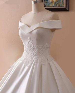 Lace Applique A-line Off the Shoulder Satin Fall Wedding Dress WD2264