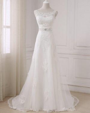 A-line Bateau Lace Applique Wedding Dress with Beading Sash WD2265