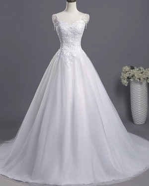 White Princess Scoop Lace Appliqued Tulle Wedding Dress WD2266